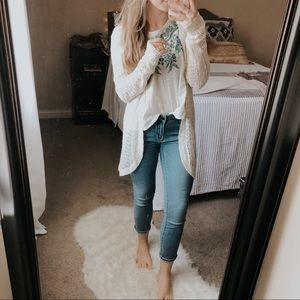 Wild Pearl Cream Loose Knit Longline Cardigan